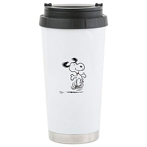 CafePress Snoopy- Dancing Dog Stainless Steel Travel Mug Stainless Steel Travel Mug, Insulated 16 oz. Coffee -
