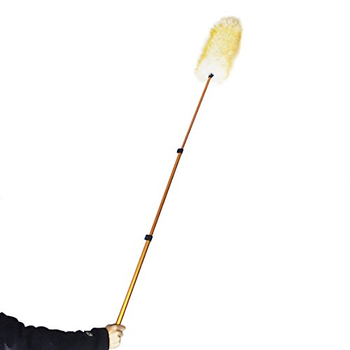 (Pure Lambs Wool Feather Duster with Extension Pole,Extend 30-61 inches Telescopic Duster for High Ceilings (Orange))