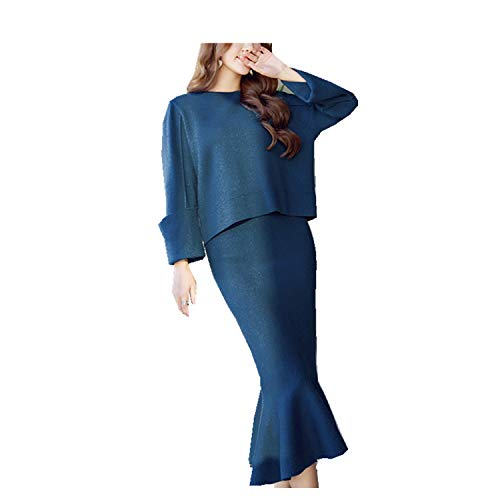 This is an Upgrade Product,Women Elegant Wool Pullover Mermaid Knitting Skirt Suit,Blue,One Size