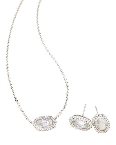 Kendra Scott Cade Earrings Chelsea Pendant Necklace Gift Set in Rhodium Plated (Earring Pendant Gift)