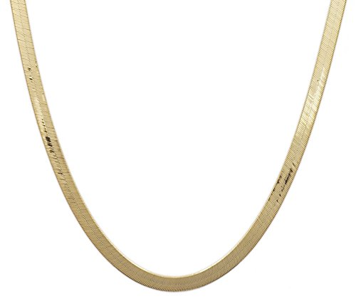 Floreo 18 Inch 10k Yellow Gold Super Flexible Silky Herringbone Chain Necklace for Women & Girls, 0.12