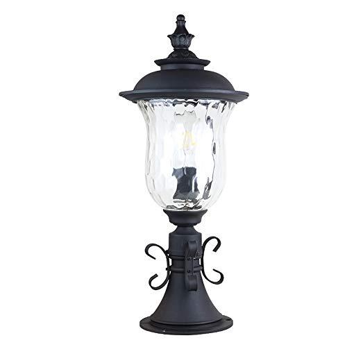 DLINMEI Cast Aluminum + Glass Outdoor Post Lighting, Tannery Bronze Column Lamp