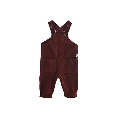- Fairy Baby Toddler Baby Unisex Casual Corduroy Bib Overall Solid Bottom Suspender Pants Size 12-18M (Brown)