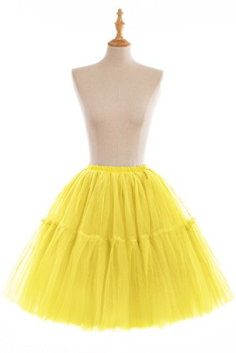 Women's A-line 50s Vintage Short Tutu Prom Party Skirt(Yellow,One Size)