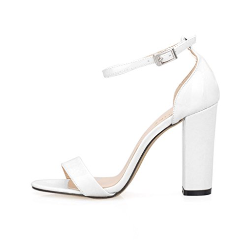 Shoes Sexy Heel High Block (ZriEy Women's Chunky Block Strappy High Heel Pump Sandals Fashion Ankle Strap Open Toe Shoes)