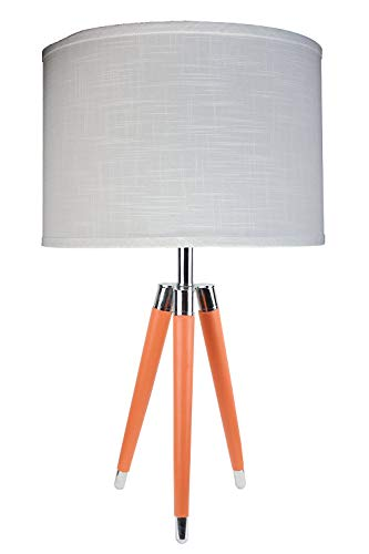 Urbanest Orange Mid Century Modern Tripod Leather & Chrome Table Lamp with 14-inch White Linen Drum - Shade White Lamp Antique
