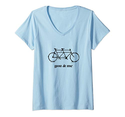 Womens You & Me Tandem Bike V-Neck - Tandem Shop Bike