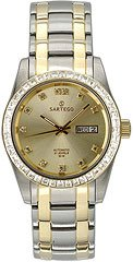 Sartego Men's STGD25 Classic Analog Champagne Face Dial Two-Tone Stainless Steel Case and Swarovski Bezel Watch