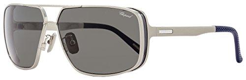 Chopard Rectangular Sunglasses SCHA80 Q39P Gunmetal/Navy Blue Polarized - Men For Chopard Sunglasses