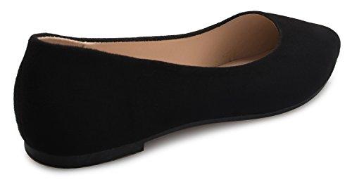 Tacón Plano Con Punta Puntiaguda Para Mujer Olivia K - Slip On Ballet Con Comodidad Casual Estilo Con Suave Gamuza De Gamuza Y Gamuza Negra De Nubuck