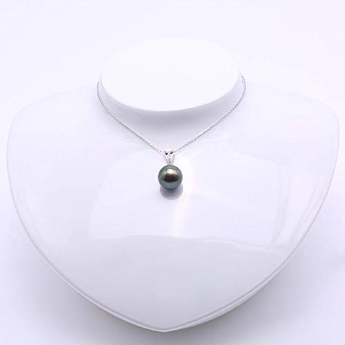Black Tahitian Pendant Necklace with Diamonds 18