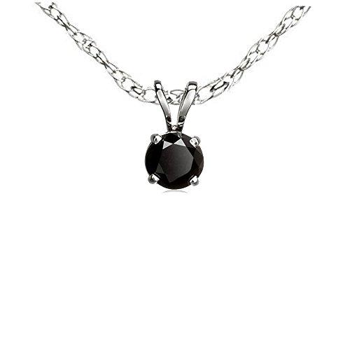 DazzlingRock Collection 0.25 Carat (ctw) 14K White Gold Round Cut Black Diamond Ladies Solitaire Pendant 1/4 (0.25 Ct Diamond Necklace)