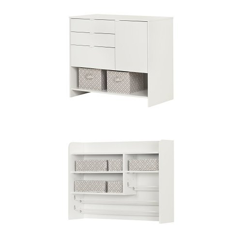 South Shore Crea Craft Storage Cabinet with Hutch Pure White by South Shore