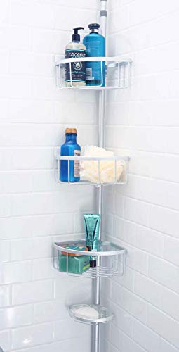 Inspired Living Shelf Organizer Rack: Rust-Proof Aluminum, Adjustable 6 to 8.75 Ft Ht in Matte Silver Corner Tension Shower Caddy,