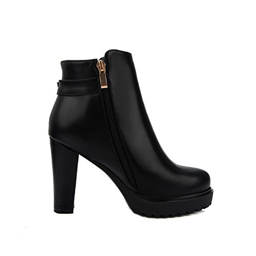 Low Toe Solid Black High PU Top Closed AgooLar Women's Boots Round Heels tqFRqwAIn