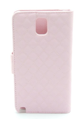 ZZYBIA® NOTE III 3 QCD Leatherette Stand Case Card Holder Wallet with Dog Fringed Dust Plug Charm for Samsung Galaxy Note III 3 N9000 N9005 (Pink)