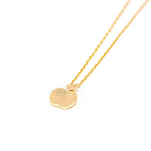 Me Plus Apple Small Charm Necklace Tiny Cute Pendant with Adjustable Clasp (Gold)