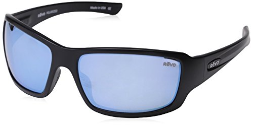 Revo Unisex RE 4057 Bearing Rectangular Polarized UV Protection Sunglasses, Matte Black Frame, Blue Water Lens ()
