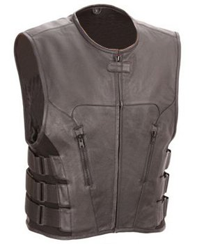 Outlaw Vest - The Nekid Cow Mens Premium Black Leather Motorcycle Swat Team Vest with Interior Armor (Large) - Guaranteed - Tactical Outlaw Black Biker Vests for Men - Law Enforcement Style Protective Armor with Side Adjustment Soft Leather Bonus 151 Page Motorcycle & Restoration E-Book Guide Included Satisfaction ASSURED (Large)