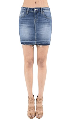 KAN CAN Women's Stretch Distressed Denim Mini Skirt with Released Frayed Hem (Medium, Medium) (Frayed Skirt Mini)