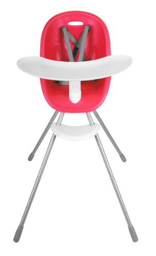 phil&teds Poppy Convertible High Chair, Cranberry - Converts to Child Seat - Ultra-Hygenic Aerocore Seat - Seamless - Hypoallergenic - Anti-Microbial - Dishwasher Safe Tray - Easy Clean - Waterproof