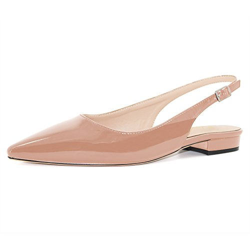 Modemoven Women's Beige Patent Leather Slingback Flats Sandals,Ankle Strap Pumps,Sexy Mules - 8.5 M US (Patent Sexy Sandals)