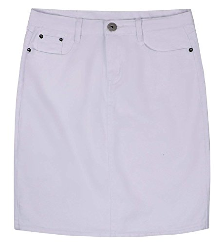 chouyatou Women's Basic Five-Pocket Rugged Wear Denim Skirt with Slit (X-Small, White)