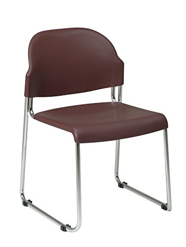 Office Star Stack Chair with Plastic Seat and Back, Burgundy, 30-Pack (Burgundy Multi Task Chair)