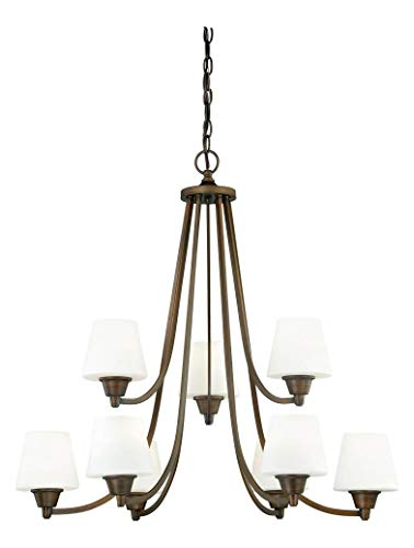 (Venetian Bronze Calais 9 Light Two Tier Chandelier with Frosted Glass Shades - 30 Inches Wide )