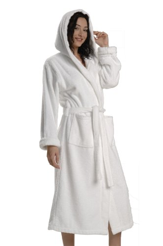 Thirsty Towels Turkish Cotton Robe Hooded Light Presidential Robe for Men and Women- 2XL White by ThirstyTM Towels