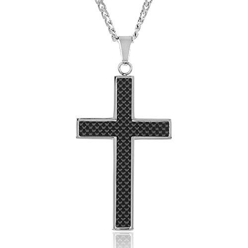 Pendant Carbon Fiber Cross (West Coast Jewelry Crucible Stainless Steel Black Carbon Fiber Inlay Cross Pendant Necklace - 24
