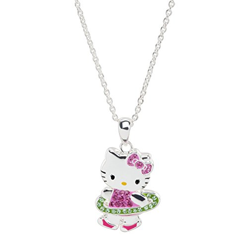 Finecraft Hello Kitty Hula Hoop Pendant Necklace with Crystals in Sterling Silver-Plated Brass