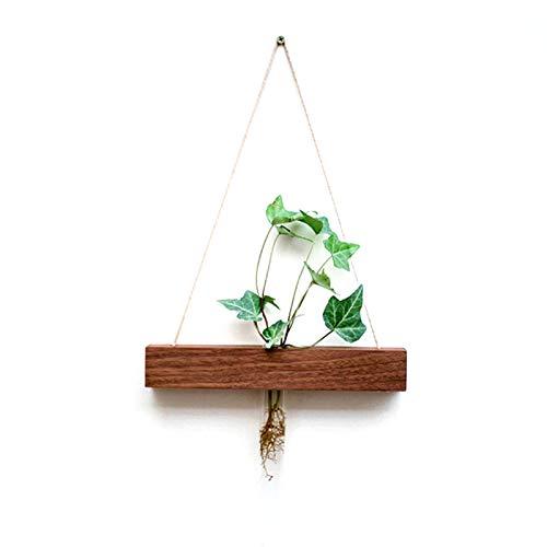 TOOGOO Black Walnut Wood Glass Test Tube Wall Vase Hydroponic Plant Flower Pot Handmade Jardiniere Home Decor Creative Ornament Pendant Style 4