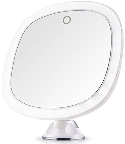 Portable Suction Battery (Miusco Lighted Mirror, 7X Magnifying Lighted Makeup Mirror, 9 inch, Adhesive Suction Mount, Batteries & USB Operated)