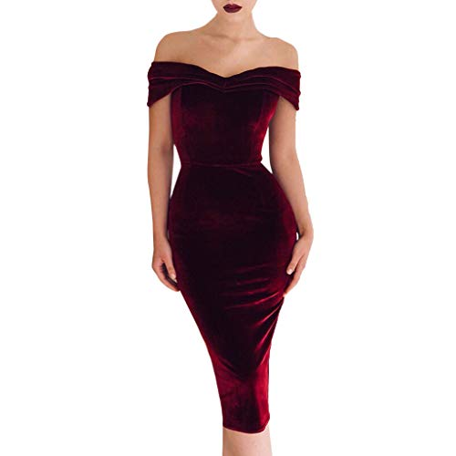 NEWONESUN 2019 Women's Off Shoulder Velvet Bodycon Short Sleeve Sexy Evening Long Maxi Dress -