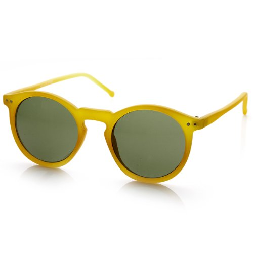 zeroUV - Vintage Retro Horn Rimmed Round Circle Sunglasses with P3 Keyhole Bridge (Yellow / - Yellow Green And Sunglasses