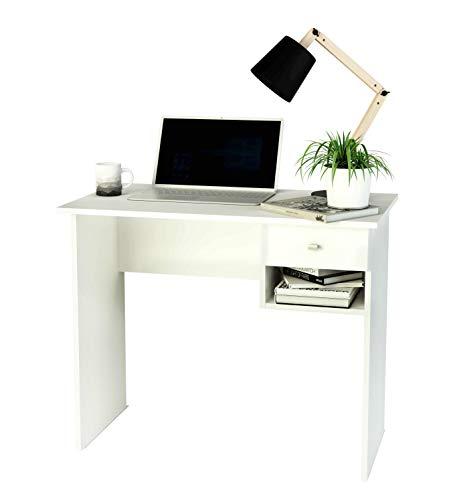 Samblo Ecritorio con cajon (varios colores) mesa de estudio de 90 cm de ancho, Hana, melamina color blanco