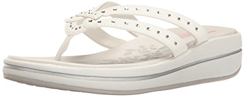 Skechers Women's Upgrades Be-Jeweled Flip Flop,White Jewel,6 M - Bejeweled Wedge