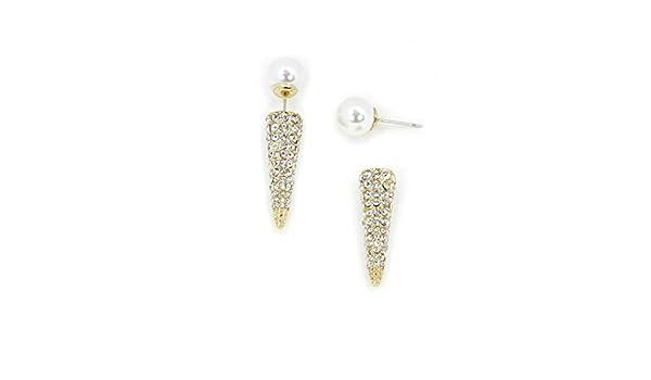 JewelryStorm Crystal Corn Pearl Ear Jacket Earrings