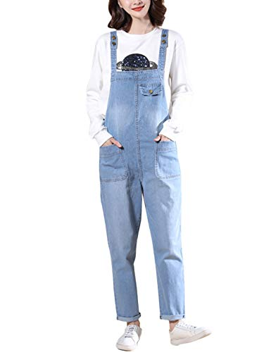 Lentta Women's Loose Baggy Denim Bib Harem Overalls Romper Jumpsuit Pants (X-Small, Light Blue)