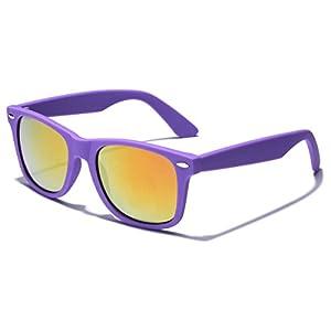 Colorful Retro Fashion Wayfarer Sunglasses - Rubber Frame with Color Mirror Lens - Violet