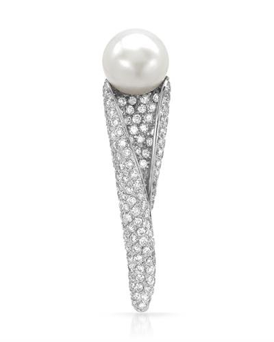 14K White Gold Pearl & Round Diamond Brooch