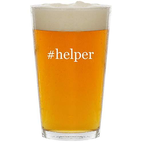 #helper - Glass Hashtag 16oz Beer Pint -