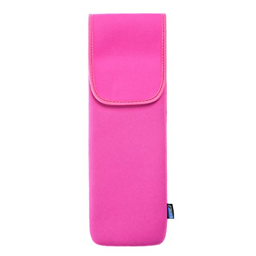 BCP Hot Pink Color Water-Resistant Neoprene Curling Iron Holder Flat Iron Curling Wand Travel Cover Case Bag Pouch(Large Size)