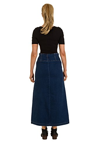 Gonna di jeans lunga - Lavato scuro Blu Maxi Gonna denim tredndy JANET