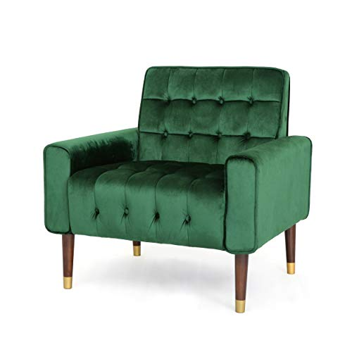 Christopher Knight Home Betsy Velvet Armchair, Modern Glam, Button-Tufted, Waffle Stitching, Emerald