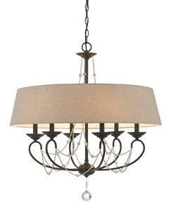 Cal Lighting FX-3532/6 6 LTG Dawson Chandelier with Burlap Shade, 60-watt x 3, Oil Rubbed Bronze/ Crystal by Cal