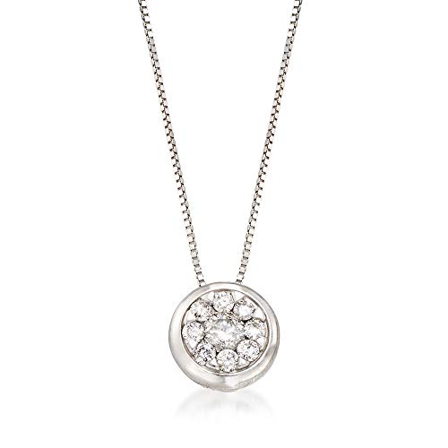 Ross-Simons 0.30 ct. t.w. Diamond Cluster Pendant Necklace in 14kt White Gold ()