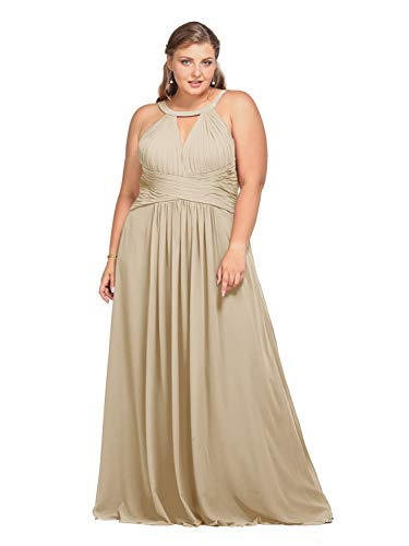 Alicepub Keyhole Bridesmaid Dress Long Formal Evening Prom Gown for Wedding Maxi, Champagne, US14 (In A Can Champagne)