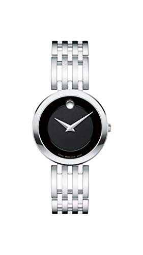 - Movado Women's Esperanza Stainless Steel Watch with a Concave Dot Museum Dial, Silver/Black (607051)